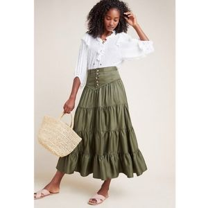 ANTHRO Lainey Tiered Maxi Skirt M